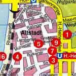 Карта Дюссельдорфа с пояснениями на русском языке