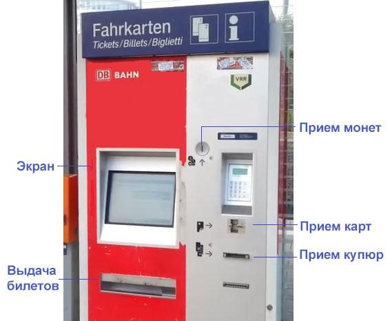 Терминал для покупки билетов на поезд в Германии