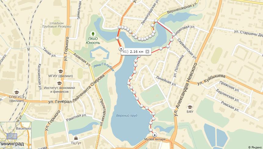 Карта маршрута прогулок по Калининграду
